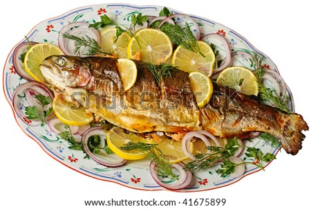 Baked trout isolated on white by clipping patch.
