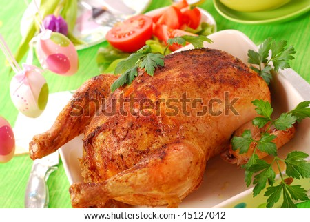 baked whole chicken with vegetables for easter dinner