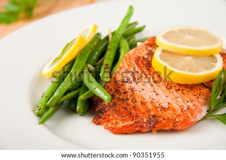 Baked Wild Alaskan Salmon Served with Green Beans