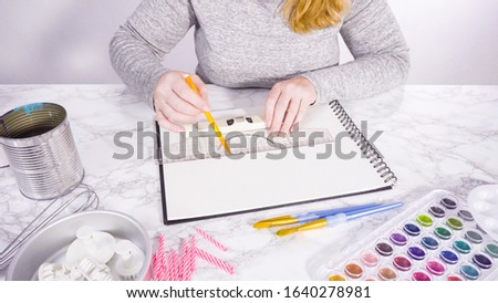 Baker is sketching the design of a birthday cake.