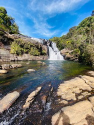 Baker's Falls is a famous waterfall in Sri Lanka. It is situated in Horton Plains National Park on a tributary of the Belihul Oya. The height of the Baker's waterfalls is 20 metres.