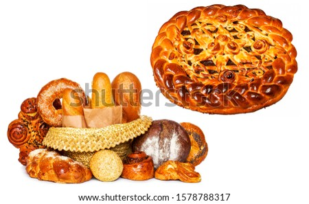 Baker's shop. Baking and bakery products. Bakery pastry bun and loaf. Bakery food