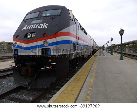 BAKERSFIELD, CA - NOV 20: This 1993 GE diesel electric locomotive is part of Amtrak's 40th Anniversary Train visiting the station on November 20, 2011, Bakersfield, California.