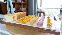 Bakery and thai sweet, sliced butter cake, Golden drop, Pinched gold egg yolk, Jackfruit seed, Sergeant Crown, Goldsmith's gems