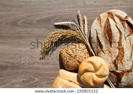 bakery bread and sheaf over wood background #220801522