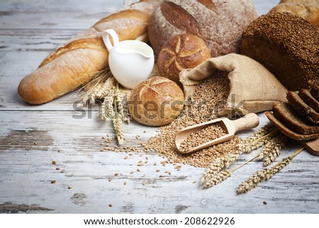 Bakery Bread.Various Bread and Sheaf of Wheat Ears Still-life.