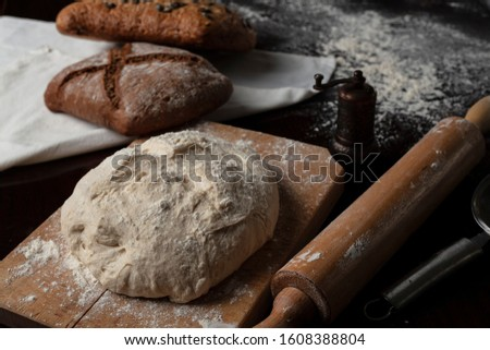 bakery ingredients on dark background