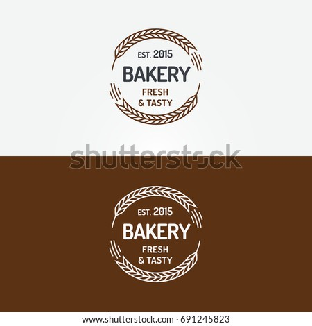 Bakery logo set with wheat line style on background for loaf store, bread house, coffee shop, cupcake firm, food market, cafe.