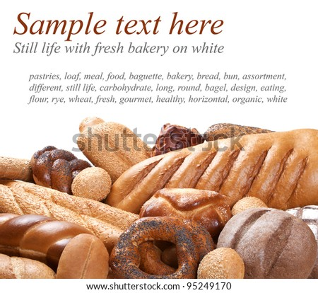 bakery on foreground with sample text on white