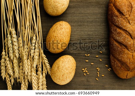 Bakery products on a wooden surface #693660949