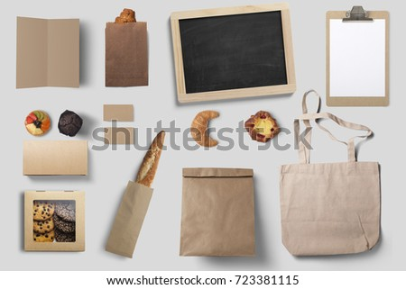 bakery stationary and package mock up, 3d illustration