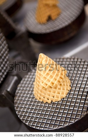 Baking a biscuit ice cream cone