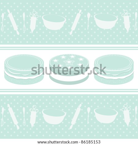 Baking background with cakes and equipment on a polka-dot background