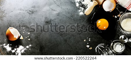 baking background with raw eggs, sugar and flour #220522264