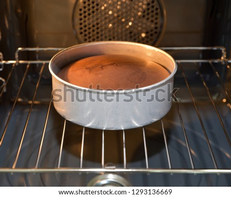 Baking cakes in the oven, homemade cake.