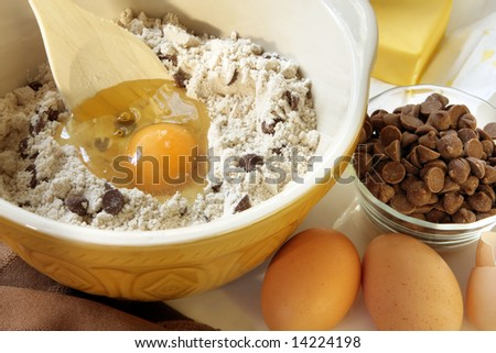Mixing Chocolate Chip Cookies