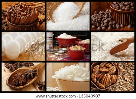Baking collage of fresh ingredients includes sugars, spices, chocolate chips, coconut flakes, pecans, flour, and eggs.