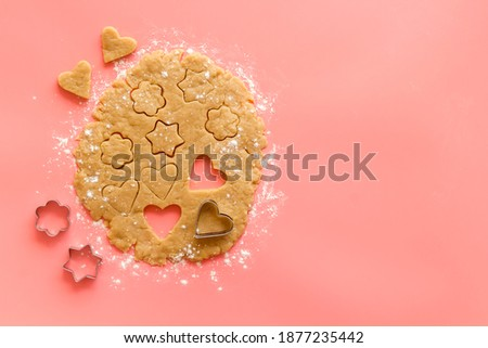 Baking dough rolled out for cooking, top view Stock photo ©