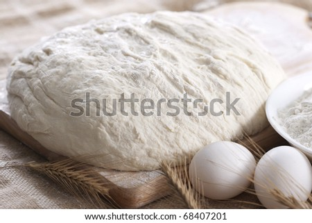 Baking fresh bread background, dough