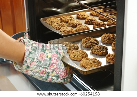 baking homemade oatmeal cookies