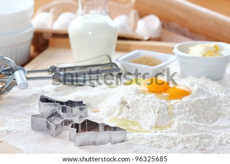 Baking ingredients for cake, pastry or cookies