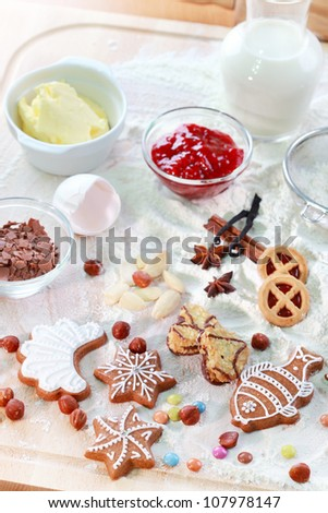 Baking ingredients for pie or cookies and gingerbread