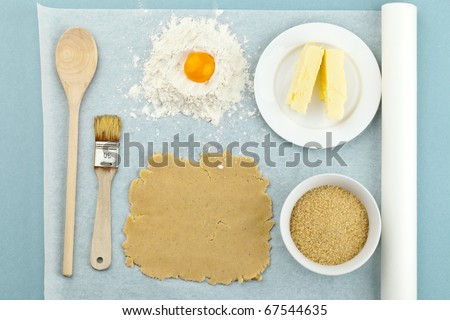 Baking ingredients for shortcrust pastry