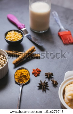 Baking ingredients on the table