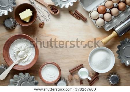 Baking ingredients, top view