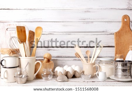 Baking kitchenware and baking products on white wooden background. Selective focus. #1511568008