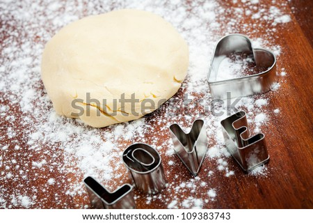 Baking love cookies for Valentine�´s Day