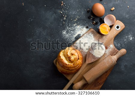 Baking pastry ingredients, selective focus. Cooking course poster background - layout with free text space.