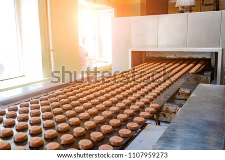 Baking production line. Raw uncooked cookies going to oven by conveyor  #1107959273
