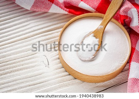 baking soda powder on wooden rustic background background. Photo stock ©