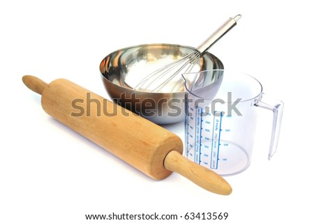 Baking tools isolated on white background.