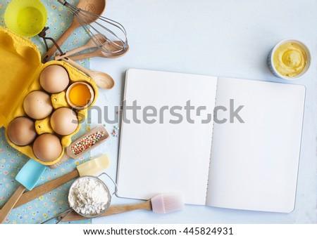 baking utensils and recipe...