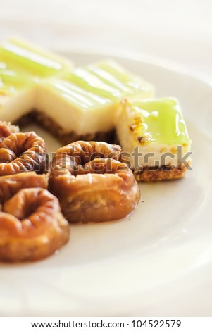 Baklava and cake desserts (selective focus)