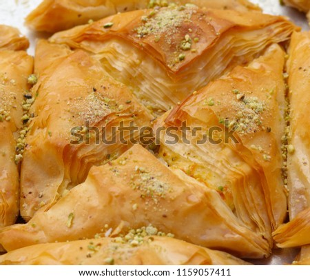 Baklava made with filo dough, honey and nuts