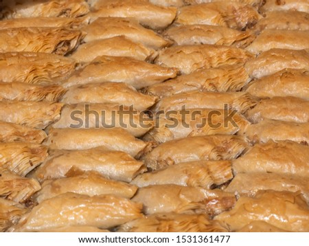 Baklava triangles and rolls, turkish dessert sweet and traditional authentic specialty, nuts and honey, similar to burma. Sarailie, baclava