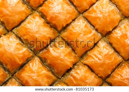 Baklava, Turkish dessert made of puff pastry, nuts and honey
