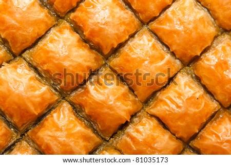 Baklava, Turkish dessert made of puff pastry, nuts and honey