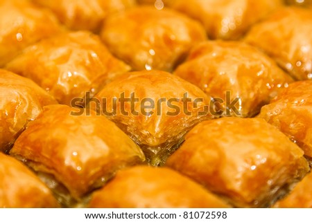 Baklava, Turkish dessert made of thin pastry, nuts and honey