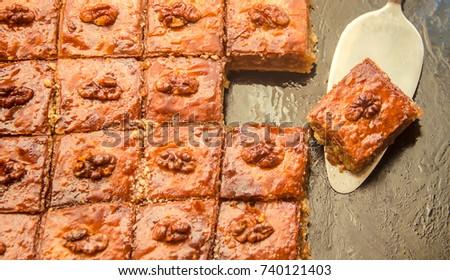 Baklava with nuts and honey. Selective focus.