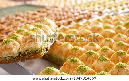 Baklava with walnut and pistachio, Turkish dessert Stok fotoğraf ©
