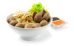 Bakso Meatballs Noodles with Soup Served Chili Sour Suace Indonesian food Style sideview