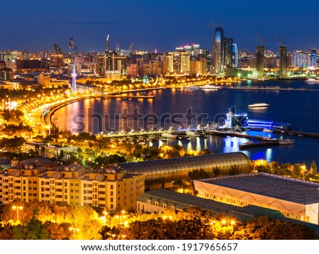 Baku aerial panoramic view from the Martyrs Lane viewpoint, which located in the center of Baku, Azerbaijan