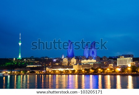 Baku Azerbaijan at Caspian sea-  night photo - stock photo