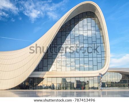 BAKU, AZERBAIJAN-DECEMBER 28, 2017: Heydar Aliyev Center - building complex in Baku, Azerbaijan designed by Iraqi-British architect Zaha Hadid.   #787413496