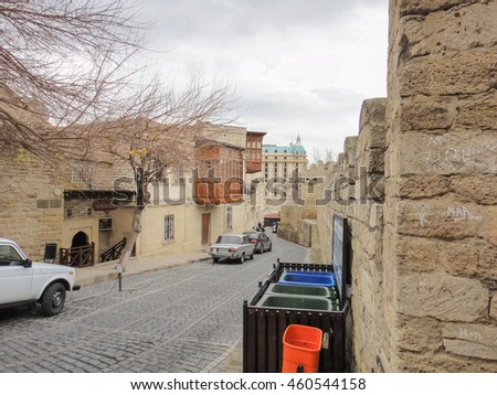 BAKU/AZERBAIJAN - DECEMBER 31 2015: Old City of Baku - Icheri Sheher. Historical core of Baku #460544158