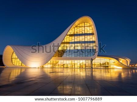 Baku/Azerbaijan - December 25th 2017: Haydar Aliyev Center in Central Baku